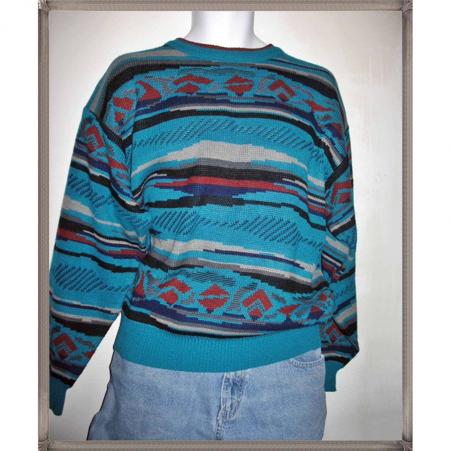 Vintage 70s 80s Southwestern Tribal Design Pullover Sweater Size - Large