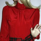 Vintage 70s 80s Pussy BowBlouse Large Ascot Tie Bow Red Satiny Shirt Top - M