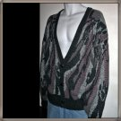 Unisex/Men's/Ladies Cardigan Vintage 80s Abstract Design in Purple Black and Grey Size XL