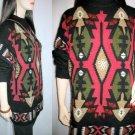 Vintage Angora Pullover Black/Red/Tan Long Sleeve Sweater SouthWestern design - Large
