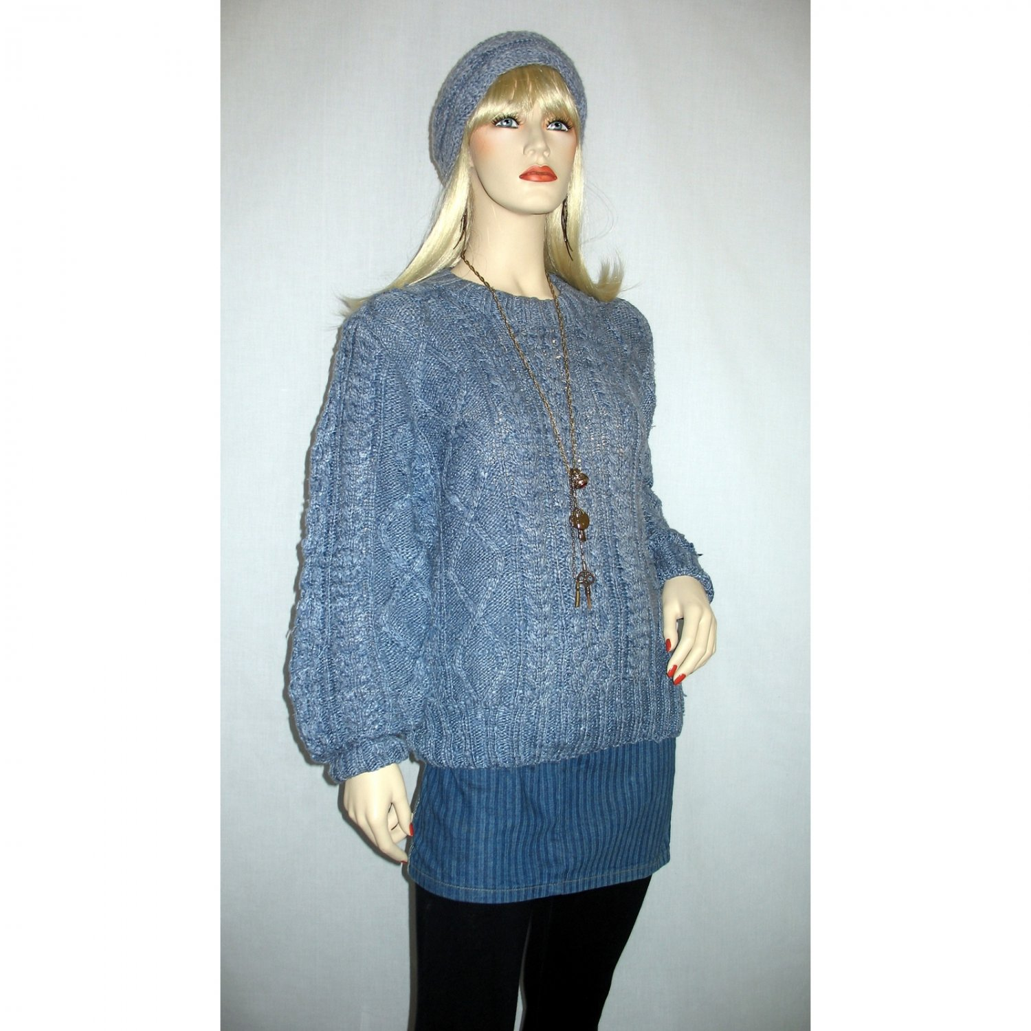 Vintage SILK Cable Knit Pullover Sweater / Chunky Nubby Knit - S / M