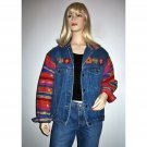Vintage Cropped Denim Jacket Indian Blanket Sleeves Embroidered Yoke - Size M/L