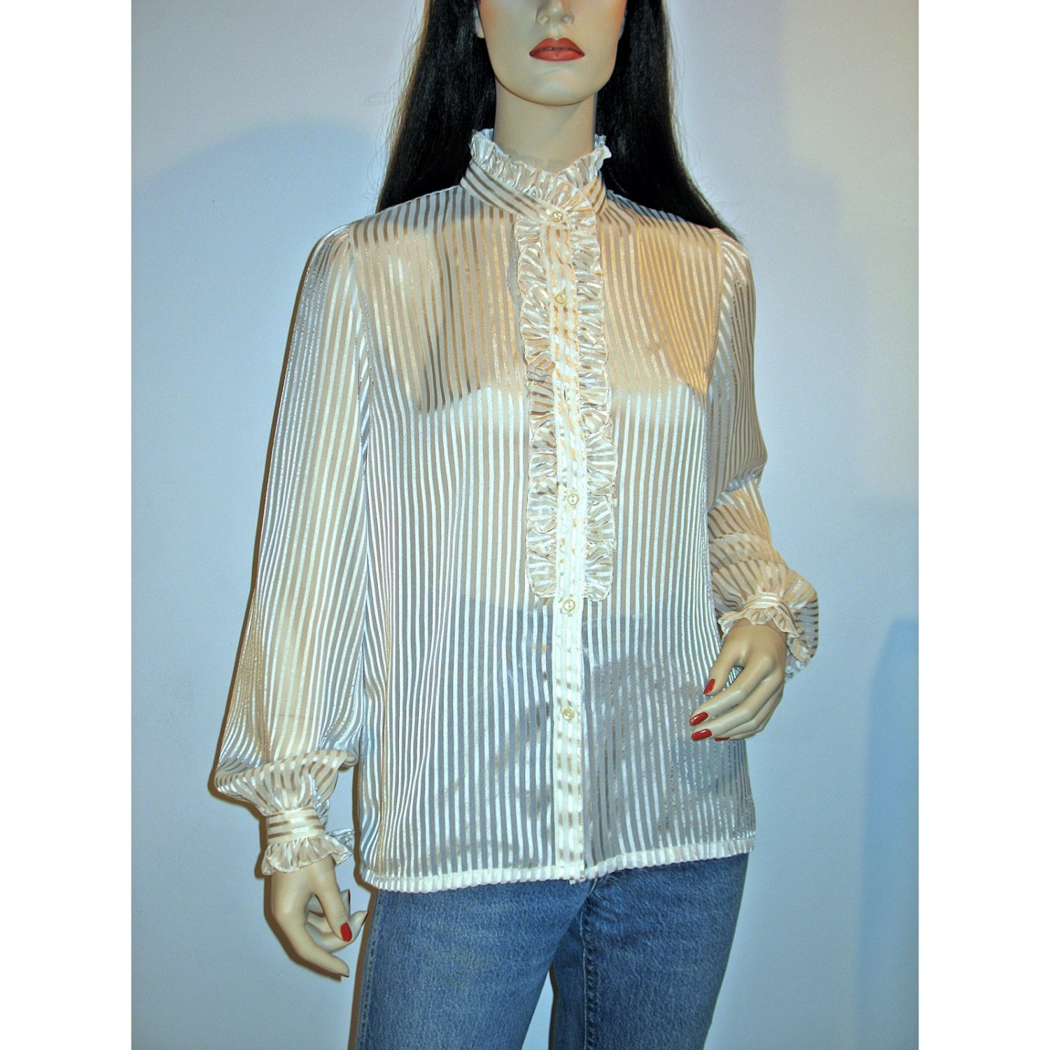 80s Ruched Ruffled Ivory Long Sleeve Secretary Blouse Sheer Shadow Stripe