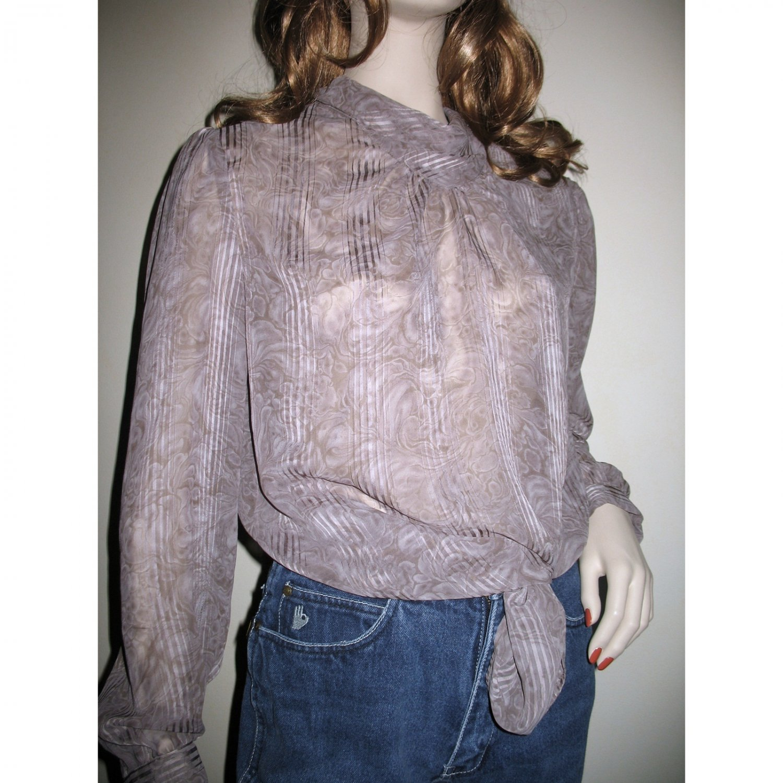 Vintage Sheer Lavender Purple Secretary Blouse / Shadow Stripe Floral M/L