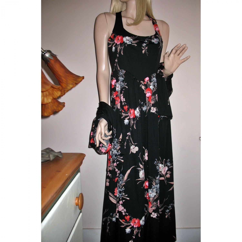 70s Black Florals Long Dress w/matching Kimono Jacket Resort Cruisewear/Captain's Dinner-M/Medium