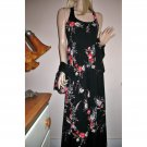 70s Black Florals Long Dress w/matching Kimono Jacket Resort Cruisewear/Captain's Dinner-M/Medium
