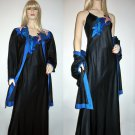 Vintage Black Satin Peignoir Set Saks Fifth Avenue - M