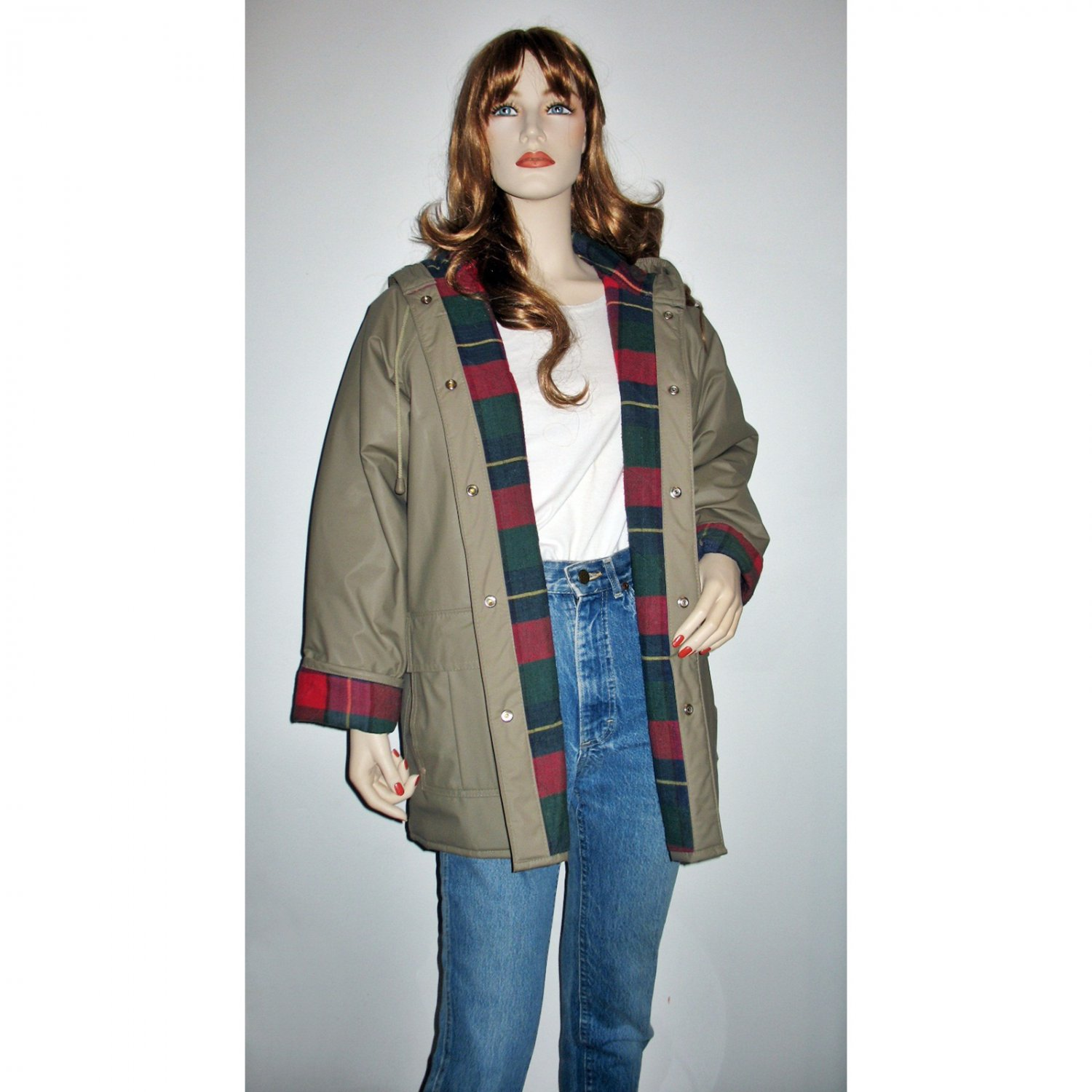 Stone PVC Hooded Raincoat with Quilted Plaid Lining