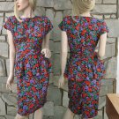 40s inspired Vintage 80s Florals Dress Hip Flounced Party Dress Red/Purple/Green Floral