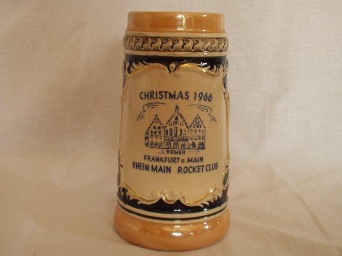 "Beer Stein ""Christmas 1966 Romer Frankfurt a Main Rhein Main Rocket Club"""