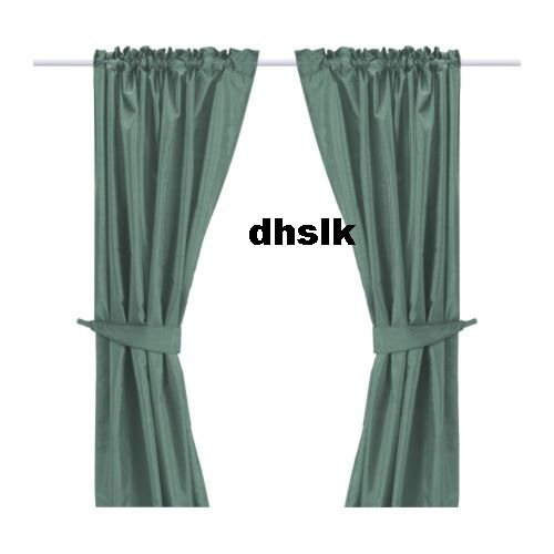 New IKEA FELICIA Curtains Drapes GREEN BLUE SILK Effect