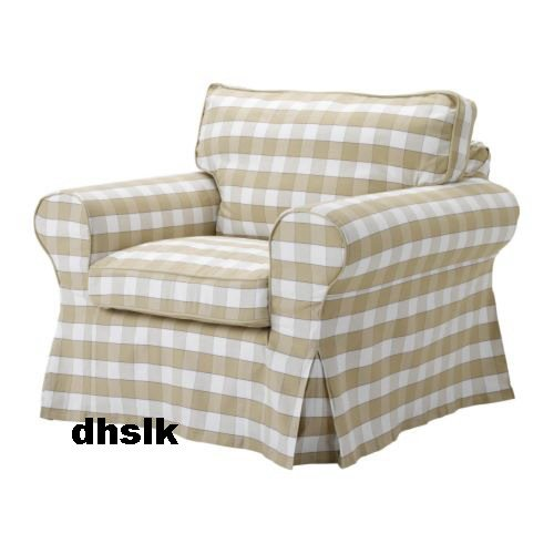 New Ikea Ektorp Armchair Slipcover Cover Bergvik Beige Checked