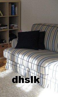 IKEA EKESKOG Sofa Bed Sofabed SLIPCOVER Cover SKOGA BEIGE Blue STRIPES