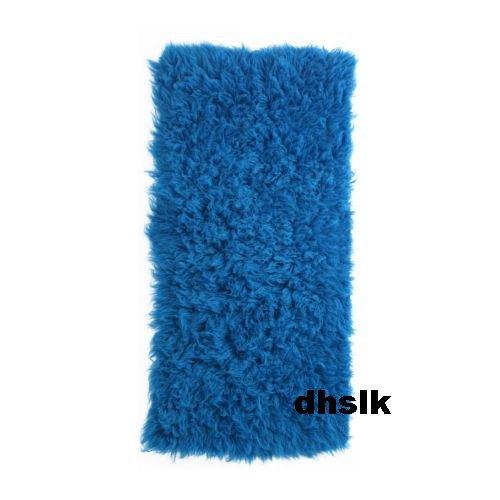 Ikea GREEK FLOKATI WOOL RUG Area Throw Mat BLUE Shag GORGEOUS
