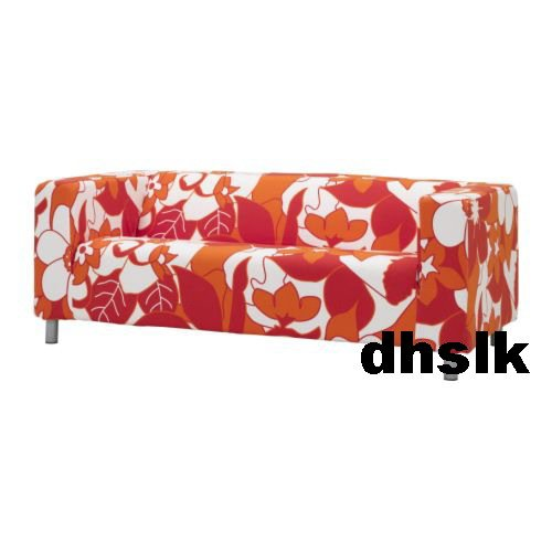 IKEA KLIPPAN Loveseat Sofa SLIPCOVER Cover VIMLE ORANGE RED Mod FLORAL