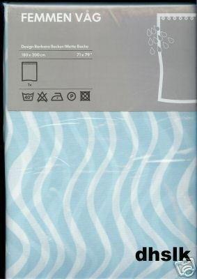 IKEA FEMMEN Aqua Blue Shower Curtain MIDCENTURY Modern