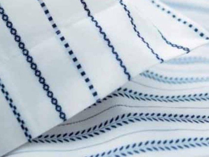 Ikea TYRA BLAD Blue White DUVET COVER Set QUEEN Tiny Leaves STRIPES Kazuyo Nomura