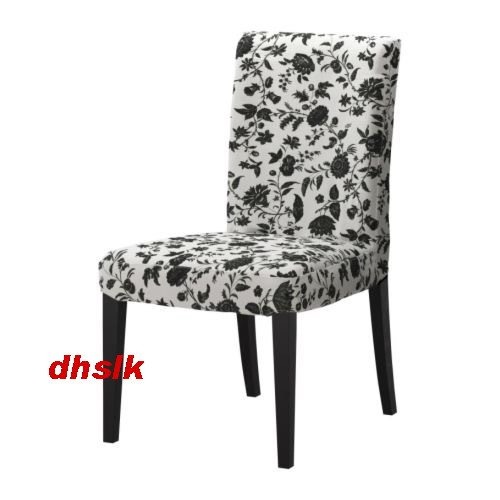 "New IKEA HENRIKSDAL Chair SLIPCOVER Cover 20"" HOVBY Black White FLORAL"