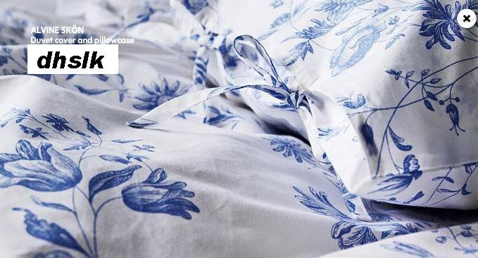 New IKEA ALVINE SK�N Skon BLUE Floral DUVET Cover KING