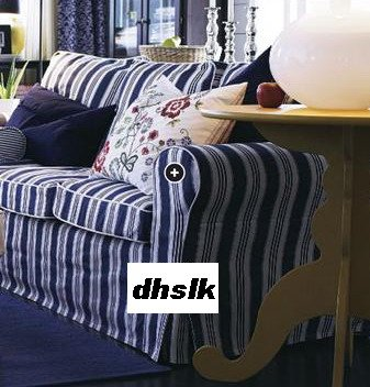 New IKEA EKTORP Sofa Bed SLIPCOVER Cover TOFTAHOLM BLUE Stripes