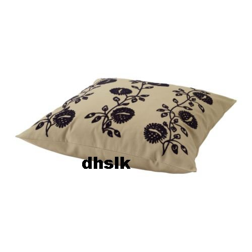 Ikea ALVINE FR� Fro CUSHION COVER Pillow Sham BEIGE BLACK Embroidered