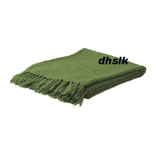 IKEA RITVA GREEN Throw BLANKET Afghan SOFT Mohair Blend
