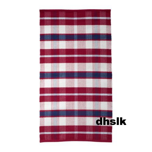Red And White Checkered Rug: IKEA AMALIA Red Blue White PLAID CHECK Area RUG Runner