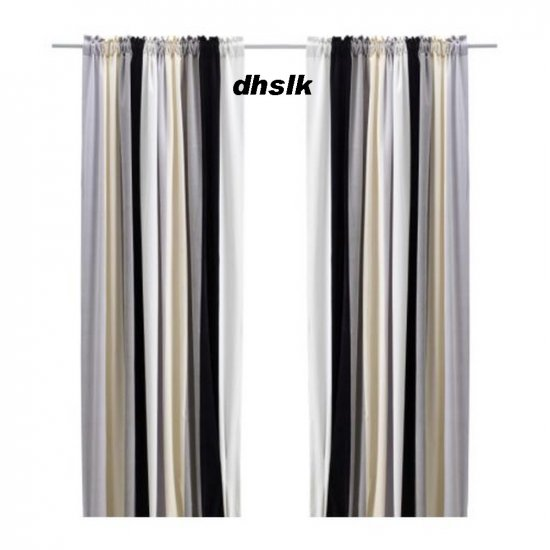 Ikea Stockholm Block Curtains Drapes Stripe Black Gray
