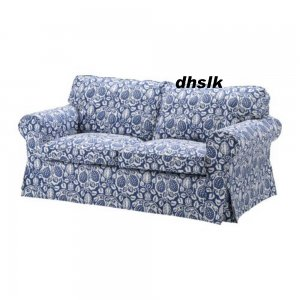 Ikea EKTORP 2 Seat Sofa COVER KLINTBO BLUE Loveseat Slipcover FLORAL Bezug
