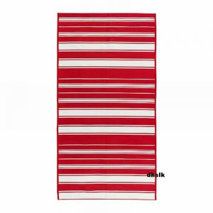 Ikea Alslev Red White Stripes Area Throw Rug Mat