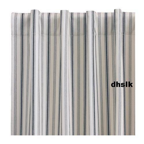 "IKEA BLUE White ALVINE Curtains TICKING STRIPES 118"""