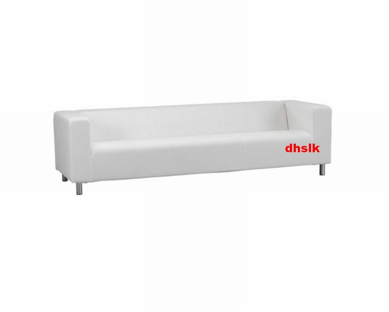 Ikea Klippan 4 Seat Sofa Slipcover Cover Alme White Cotton