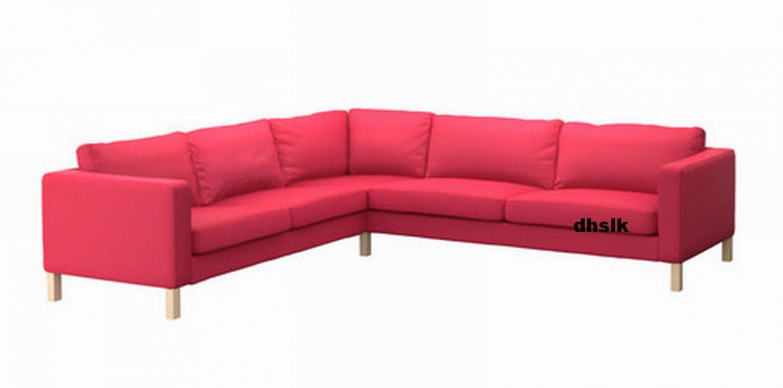 ikea karlstad corner sofa slipcover cover sivik pink red pink red mid century modern. Black Bedroom Furniture Sets. Home Design Ideas