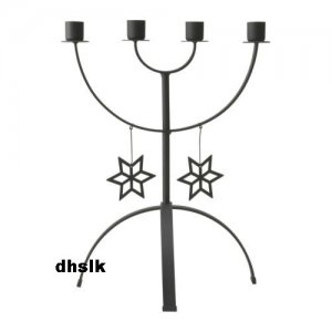 IKEA ISIG Christmas CANDELABRA 4 Arm Candle Holder BLACK Glansa Strala XMAS Snowflakes Metal