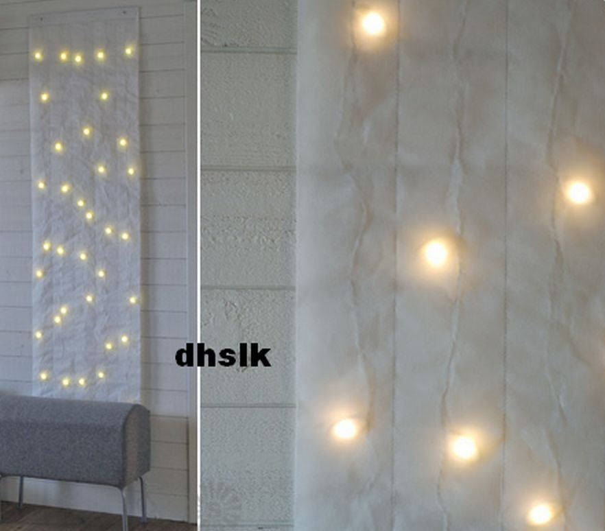 ikea kallt wall decoration 40 bulbs white xmas fabric led lights panel glansa strala. Black Bedroom Furniture Sets. Home Design Ideas