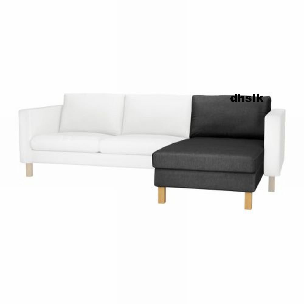 ikea karlstad add on chaise slipcover cover sivik dark gray grey mid century modern. Black Bedroom Furniture Sets. Home Design Ideas