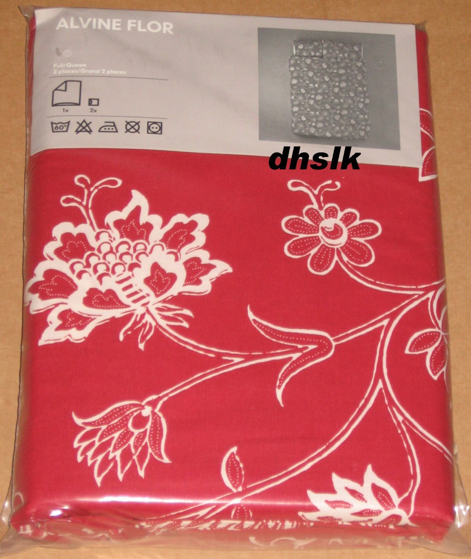 Ikea Alvine Flor Red White Queen Full Duvet Cover Set