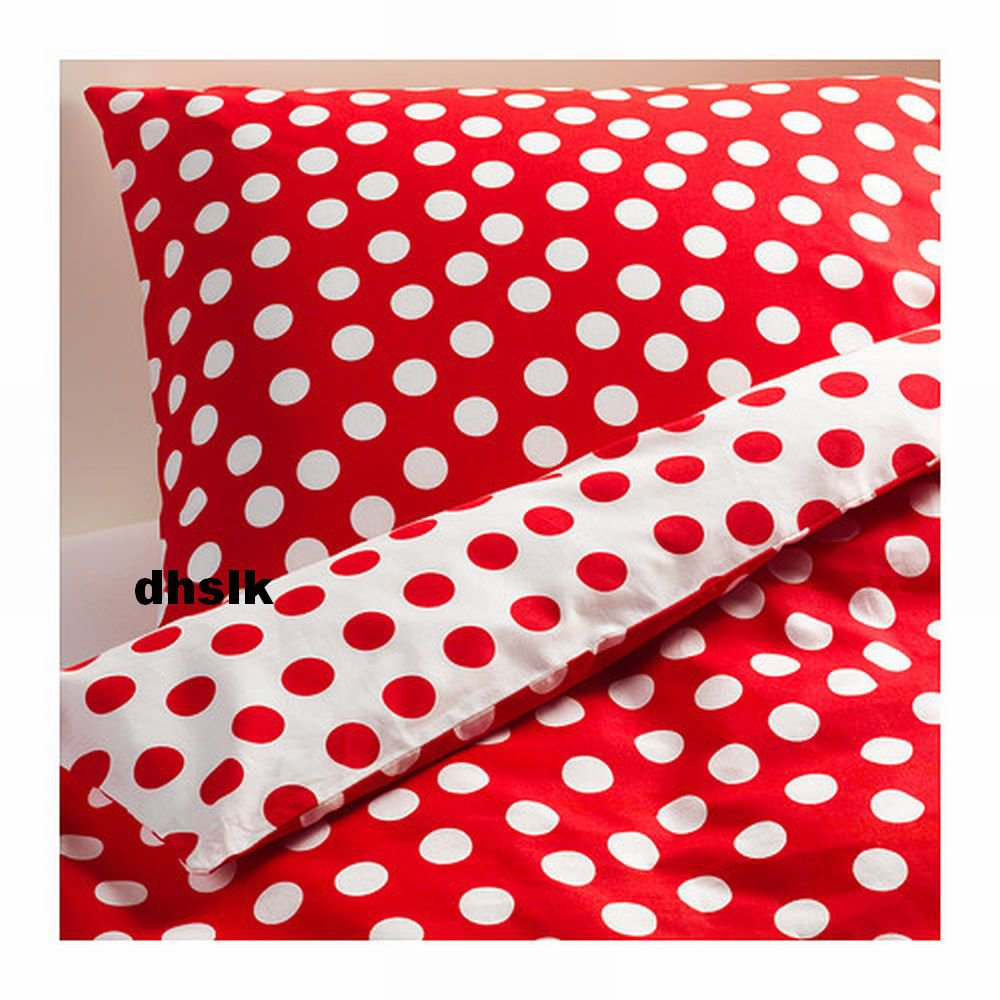Ikea Stenklover Twin Duvet Cover Set Polka Dots Red Stenkl 214 Ver