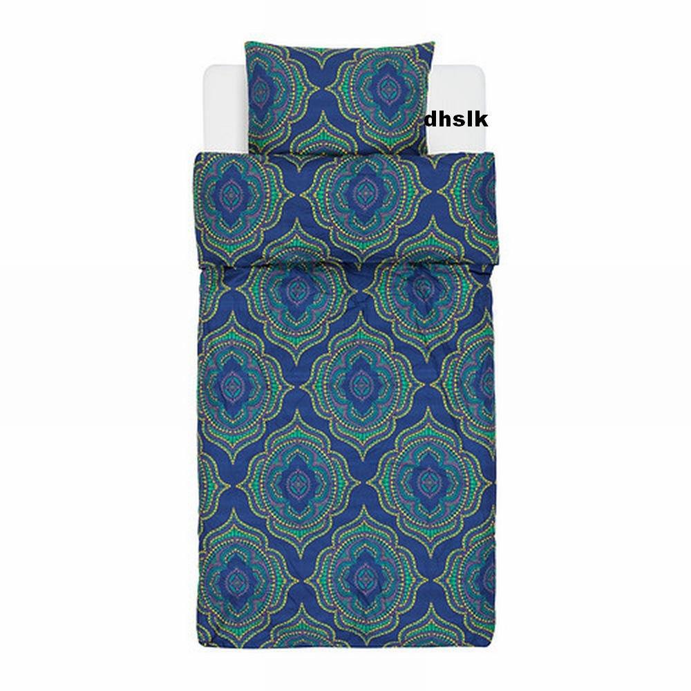 Ikea Natvide Twin Duvet Cover Pillowcase Set Ethnic Blue Green