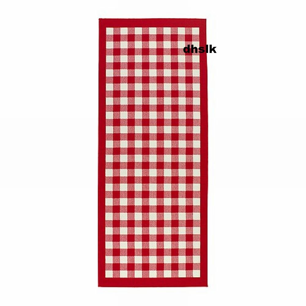 Ikea Millinge Checked Runner Rug Area Throw Mat Low Pile