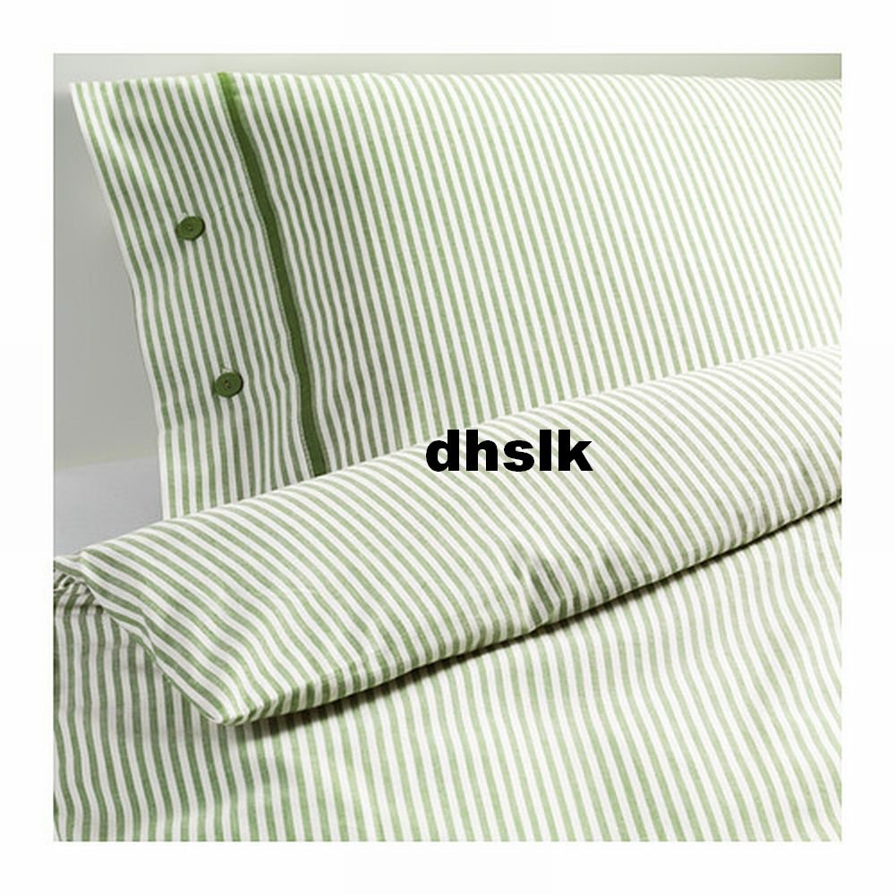 Ikea Nyponros Twin Duvet Cover Set Ticking Stripes Green