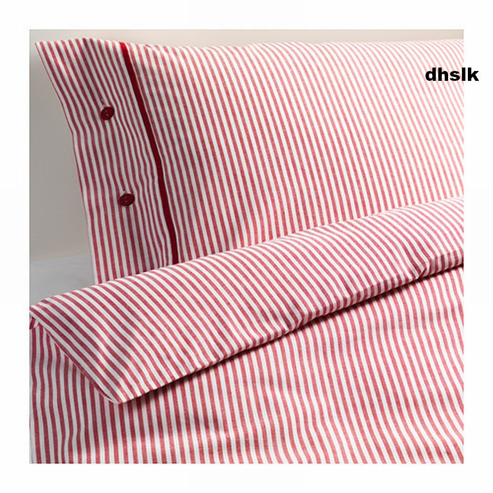 Ikea Nyponros Queen Full Duvet Cover Set Ticking Stripes