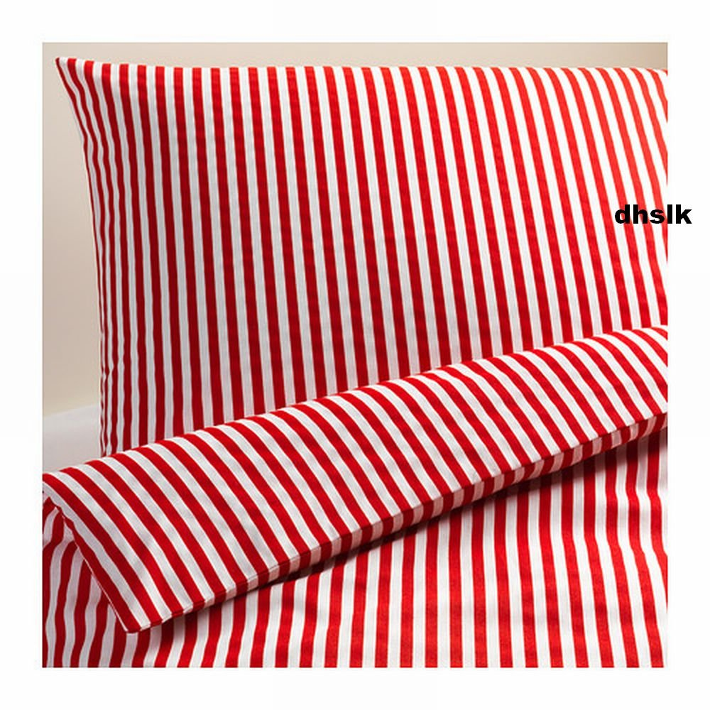 ikea margareta full queen duvet cover pillowcases set red white stripes xmas. Black Bedroom Furniture Sets. Home Design Ideas