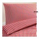 IKEA MARGARETA  Full QUEEN Duvet COVER Pillowcases Set RED White STRIPES Xmas