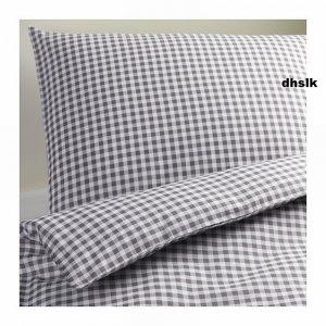 Ikea Margareta Full Queen Duvet Cover Pillowcases Set Gray
