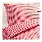 IKEA MARGARETA  Full QUEEN Duvet COVER Pillowcases Set RED White CHECKED Gingham XMAS