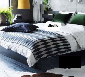 IKEA HENNY Bedspread BLANKET GRAY Afghan Throw Knit GREY Wool LARGE