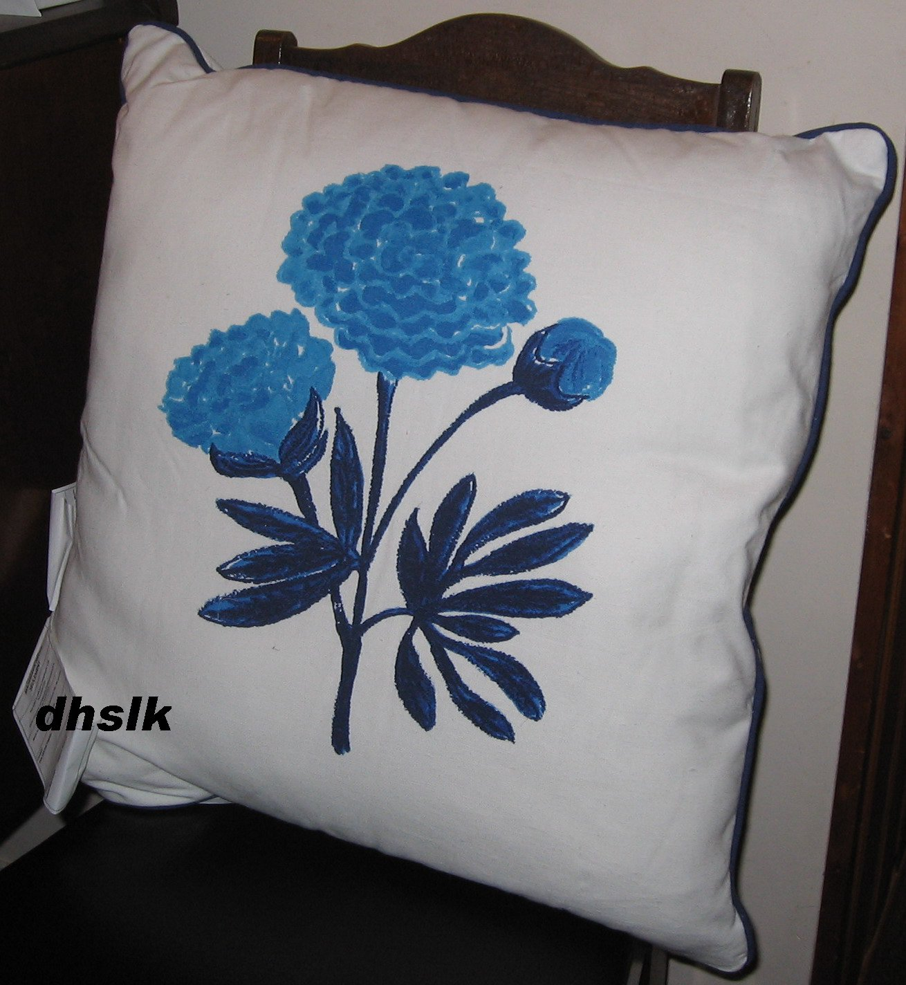 IKEA GRONSKA Grönska CUSHION Accent Pillow BLUE FLOWER Striped Sommar 2018