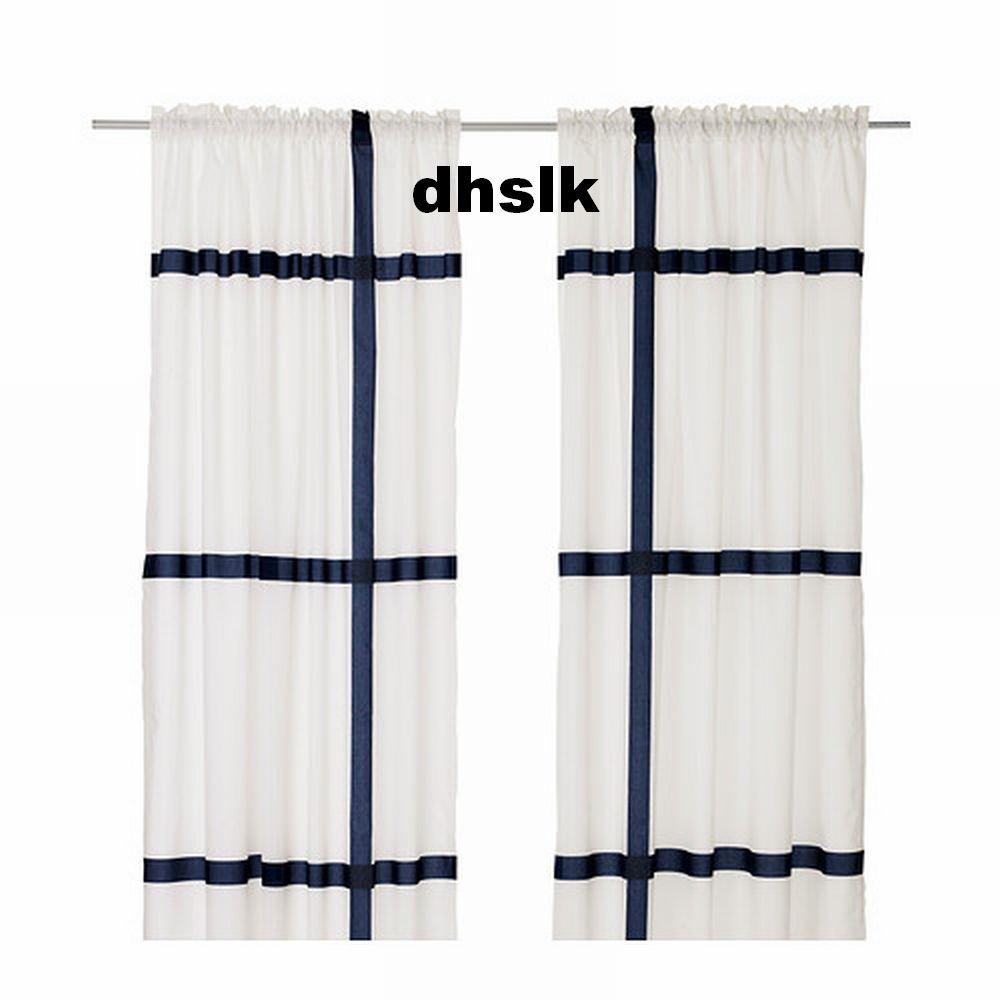 Ikea Marmorblad Curtains Drapes Blue Black White Grid Line