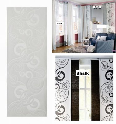 IKEA ANNO VACKER Window Curtain Panel ROOM DIVIDER White Swirls ZEN